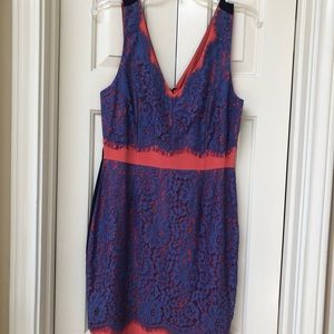 Purple and pink lace and silk dress, size S